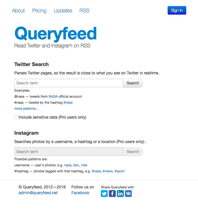 Queryfeedの公式サイトの画像