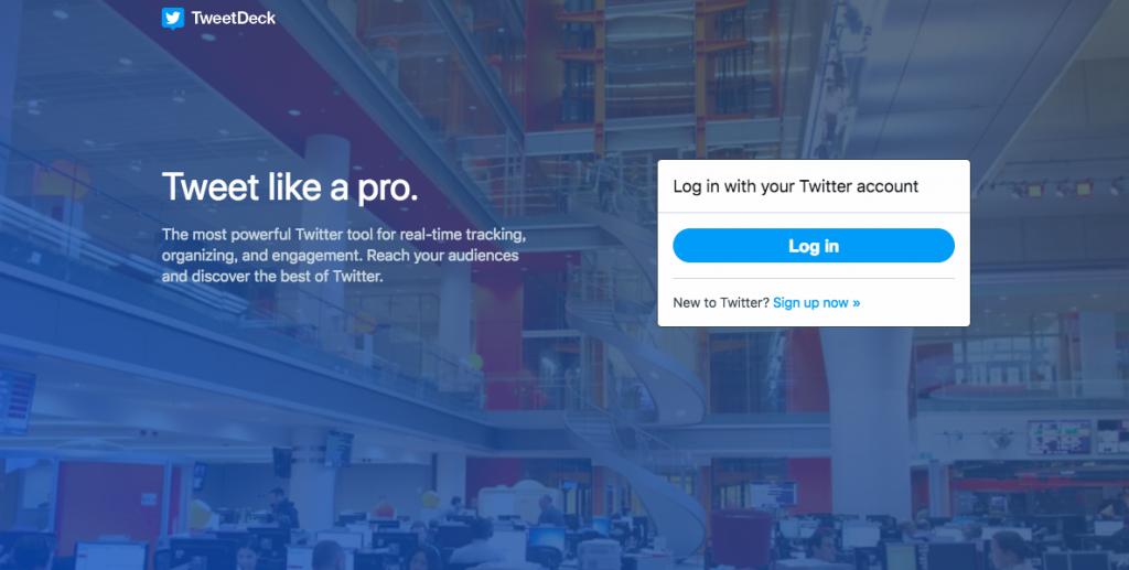TweetDeckの公式サイトの画面